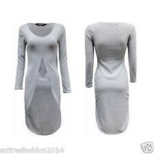 Women Ladies Long Sleeve Asymmetric Front Cut Split Hi Lo Long Top Party Dress