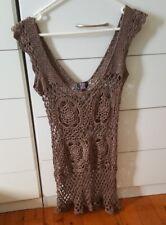 PURE HYPE Crochet Bikini Dress Beach Size S/M Brown Boho Indi Festival Byron Bay
