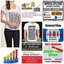 1000 x EAN Code-barres Upc Codes valides GS1 eBay Amazon | 100% Works best seller EAN