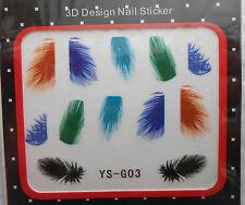 1 Paquet de Stickers Pour Ongles PLUMES Bleu Vert Noir... - Réf. : YS-G03