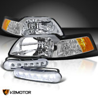Fit 99-04 Ford Mustang Cobra GT Crystal Headlights w/LED Driving Fog Lamps Pair