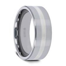 Wedding Ring Band - 6mm & 8mm Ivar Platinum Inlaid Flat Tungsten Comfort Fit