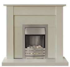 ELECTRIC IVORY SILVER FIRE FIREPLACE SURROUND PEBBLES SET BLACK IVORY BACK PANEL
