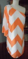 Pink Owl One Shoulder Dress New with Tags Medium Orange /White Chevron Stripe