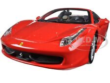 FERRARI 458 SPIDER RED 1/24 DIECAST MODEL CAR BY BBURAGO 26017