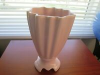 Vintage Brush McCoy USA Art Pottery Light Pink Ribbed Vase #712