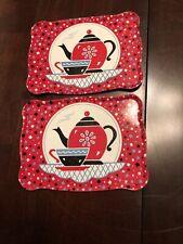 VTG 1940s 1950s Ohio Art Tin Toy Tray Tea Set Tea Pot Cup & Saucer Design