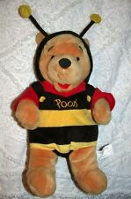 """Plush 14"""" WINNIE THE POOH In Bumble Bee Costume DISNEY STORE Bear Toy Honey"""