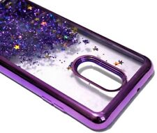 For LG Stylo 4 - Purple Chrome Glitter Red Gold Stars Liquid Skin Case Cover
