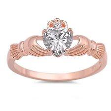 ROSE GOLD Sterling Silver CZ Irish Claddagh Love Ring Size 9 10 11 12 / R T V X