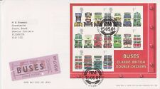 GB ROYAL MAIL FDC FIRST DAY COVER 2001 DOUBLE DECKER BUSES MINIATURE BUREAU PMK