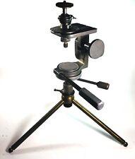 Antique Brass Metal Tripod Camera Mount Head Tabletop Heavy Duty