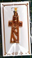 Crucifix, 40mm With Confirmation Dove, Gold Tone, Quality Made in Italy, Pendant