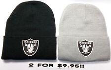 READ LISTING! Oakland Raiders HEAT Applied Flat Logos on 2 Beanie Knit Cap hat!