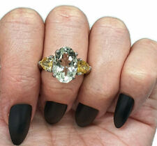 Green Amethyst & Citrine Trilogy Ring, size 8, Sterling Silver, Three Stone Ring