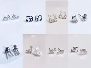 925 Sterling Silver Animal Elephant Dainty Stud Earrings Gift Box Free Shipping