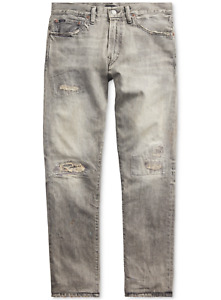 POLO RALPH LAUREN Men's Sullivan Slim Fit Grey Distressed Repaired Jeans NEW NWT