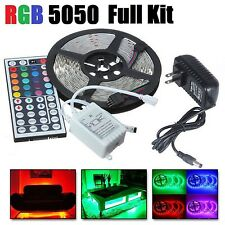 5M RGB 5050 LED Strip light SMD 44 Key Remote 12V US Power Full Kit US DIY PARTY