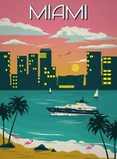 A3 Gloss Poster - Travel Poster - Miami