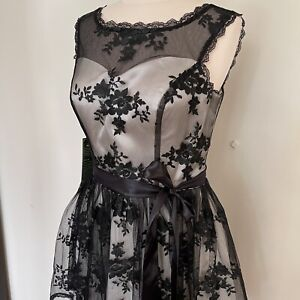 Grace Karin Black Lace Overlay Belted A-Line Flared Lined Dress BNWT - Size 12