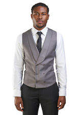 Slim Fit Silver Shawl Lapel Double Breasted 3 Button Mens Dress Vest Formal AZAR
