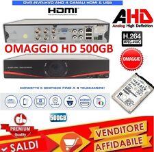 DVR 4 CANALI AHD H264 HDMI CLOUD VIDEOSORVEGLIANZA IBRIDO CON HD DA 500GB TVCC