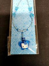 Vtg 1999 Sanrio HELLO KITTY Blue BUTTERFLY Beaded Mobile CELL Phone Strap NEW