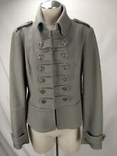 Banana Republic Military Blazer Jacket Size 14 Womens Green Gold Buttons Stretch