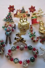 Vintage Fashion Christmas  Enamel Rhinestone Jewelry Brooch Pin Mixed Lot