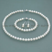 New 7-8mm Real Natural white Freshwater Pearl Necklace Bracelet Earrings set
