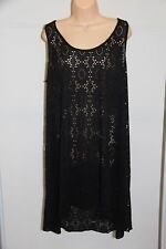 NWT Profile Swimsuit Bikini Cover up Tunic Dress Sz S Black Crochet