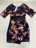 Ladies Navy Floral Dress Closet London UK Size 10 Asymmetrical Front Party BNWT