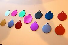 PET TAG CIRCLE ID DOG TAG PREMIUM FULLY ANODIZED 2-SIDE DIAMOND ENGRAVED TAGS