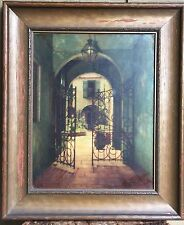 C. BENNETTE MOORE - LARGE Hand Tinted Photo Courtyard French Quarter NEW ORLEANS