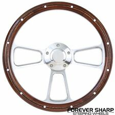 "69-93 Pontiac Catalina GTO 14"" Mahogany Wood Aluminum Rivets Steering Wheel Set"""