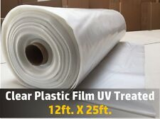 Greenhouse Clear Plastic Film Polyethylene Covering UV Treated 12ft X 25ft