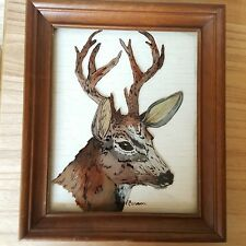 80s Vintage Glass Deer Buck Painting Signed - Hunting Outsider Art / Cabin Decor