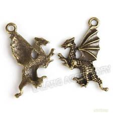 200x Wholesale Charms Antique Bronze Dragon Shape Alloy Pendants Fit Necklaces J