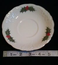 Royal Kent Holiday Holly - Gold Trim Saucer