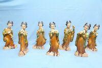 lotto Antiche statuine cinesi 7 suonatrici ceramica mingqi XIX secolo grandi