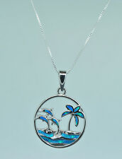 Sterling Silver Blue Created Opal Dolphins Pendant with Chain