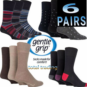 6 pairs   Mens Gentle Grip Socks Non Elastic Soft Top Diabetic COTTON