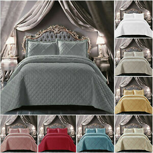 3PCS RAFFLE CHECK EMBOSSED Quilted Comforter Bedspread Throw with 2 Pillow Shams