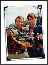 1975 Budweiser Beer Can Fishing Lure Father Son Bass Fish photo vintage print ad
