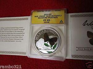 2014 Niue $2 Butterfly Nacaduba Niueensis 1 Oz .999 Silver ANACS NGC PCGS COA