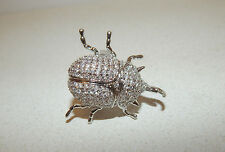 ANTHROPOLOGIE RING 7 SCARAB SPARKLING MINI CRYSTALS SILVER PLATE BUG #133 $128