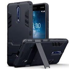 Resistente a los golpes delgada armadura delgado estuche duro con soporte en Negro para Nokia 8