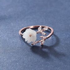 Rose Gold Adjustable Size Jewelry Zircon Crystal Leaf Shell Flower Opening Ring