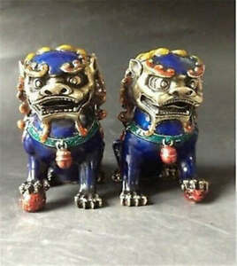 Old Fengshui bronze Cloisonne Guardion Fu Foo Dogs Lion beast statue pair