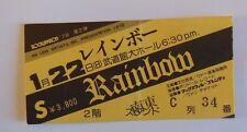 RAINBOW   Ritchie Blackmore's Rainbow TICKET   TOKYO 1978